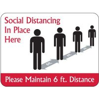 Temporary Floor Markers - Social Distancing in Place Here