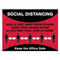 Temporary Social Distance Floor Signs - Keep The Office Safe