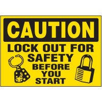 Lock-Out Labels - Caution Lock Out For Safety Before You Start