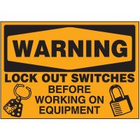Lock-Out Labels - Warning Lock Out Switches Before Working On Equipment