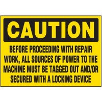 Lock-Out Labels - Caution Before Proceeding With Repair Work