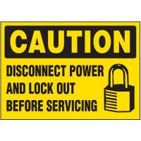 Lock-Out Labels - Caution Disconnect Power And Lock Out Before Servicing