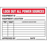 Lock-Out Labels - Lock Out All Power Sources