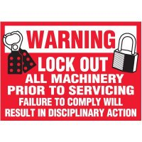 Lock-Out Labels - Warning Lock Out All Machinery