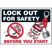 Lock-Out Labels - Lock Out For Safety Before Your Start