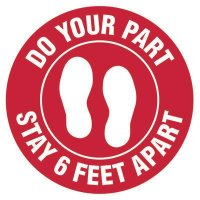 Floor Safety Signs - Stay 6 Feet Apart - Red