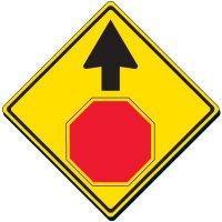 STOP AHEAD (Symbol) Yellow Diamond Warning Signs (W3-1)