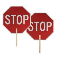 Stop-Stop - Two-Sided Traffic Paddle Sign