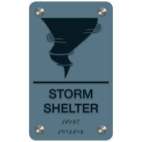 Storm Shelter W/ Tornado Cloud - Premium ADA Facility Signs