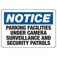 Notice Parking Facilities Under Camera Surveillance Sign