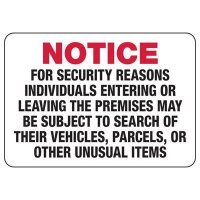 Individuals May Be Subject To Search Sign