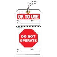 Tear-Off QC Action Tags - OK To Use Do Not Operate