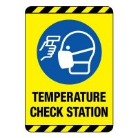 Temperature Check Station Construction Site Sign