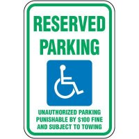 Reserved Parking Unauthorized Punishable Sign
