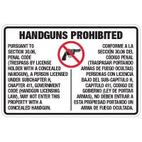 Texas Concealed Carry Handguns Prohibited Sign for Penal Code 30.06