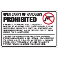 Texas Open Carry Handguns Prohibited Sign for Penal Code 30.07