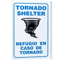 Tornado Shelter Bilingual L-Style Sign