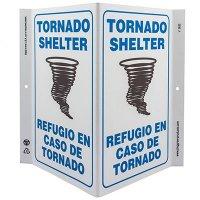 Tornado Shelter Bilingual V-Style Sign