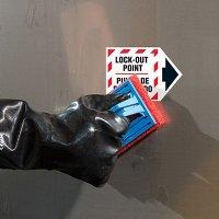 Bilingual ToughWash® Arrow Labels - Lock-Out Point