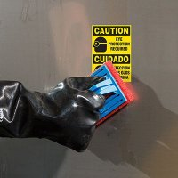 Bilingual ToughWash® Labels - Caution Eye Protection