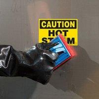 ToughWash® Labels - Caution Hot Steam