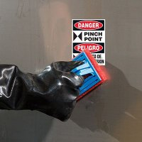 ToughWash® Labels - Danger Pinch Point (Bilingual)