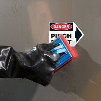 ToughWash® Arrow Labels - Danger Pinch Point