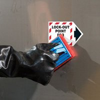 ToughWash® Arrow Labels - Lock-Out Point For