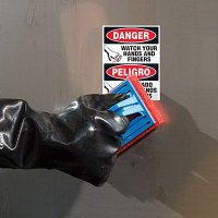 ToughWash® Labels - Danger Watch Your Hands (Bilingual)