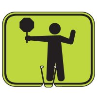 Plastic Traffic Cone Signs- Crossing Guard Symbol