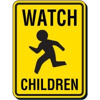 Watch Children Pedestrian Sign