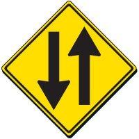 Reflective Warning Sign - 2-Way Traffic Sign