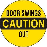 Caution Door Swings Out Label