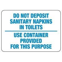 No Sanitary Napkins in Toilet Sign