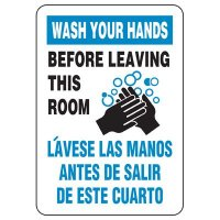 Bilingual Wash Hands Before Leaving Restroom Sign