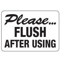 Flush After Use Restroom Sign