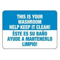 Bilingual Keep Washroom Clean Sign
