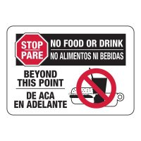 Bilingual No Food Or Drink Sign
