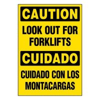 Bilingual Super-Stik Signs - Caution Look Out For Fork Lifts