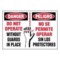 Bilingual Super-Stik Signs - Danger Do Not Operate