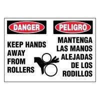 Bilingual Super-Stik Signs - Danger Keep Hands Away