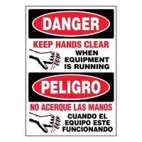 Bilingual Super-Stik Signs - Danger Keep Hands Clear