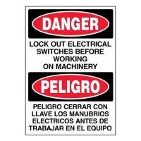 Bilingual Super-Stik Signs - Danger Lock Out Electrical