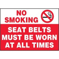 No Smoking Seat Belt Label