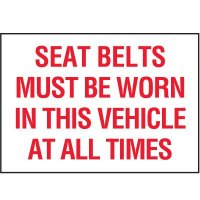Seat Belt Must Be Worn label