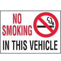 No Smoking In Vehicle Label