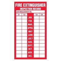 Fire Extinguisher Inspection Label, Adhesive Vinyl - 2021-2024