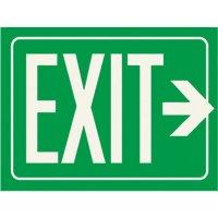 Photoluminescent Arrow Right Exit Sign