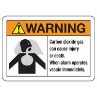 CO2 Extinguishing Systems Signs - When alarm operates vacate immediately