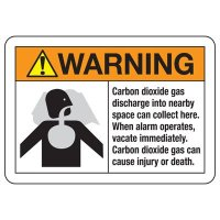 CO2 Extinguishing Systems Signs - Cabon dioxide can collect here